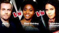 """Replay """"The Voice"""" : l'épreuve ultime de Ry'm, Ann-Shirley et Andrea Durand (vidéo)"""