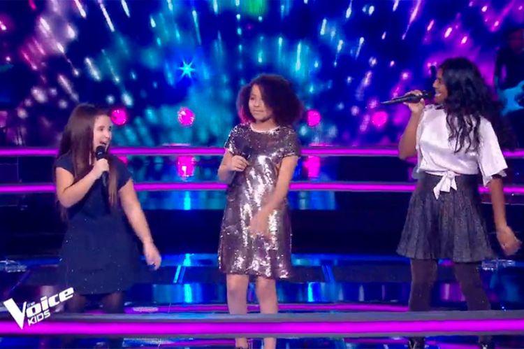 """Replay """"The Voice Kids"""" : Rania, Flora et Myriam chantent « Dans un autre monde » de Céline Dion (vidéo)"""
