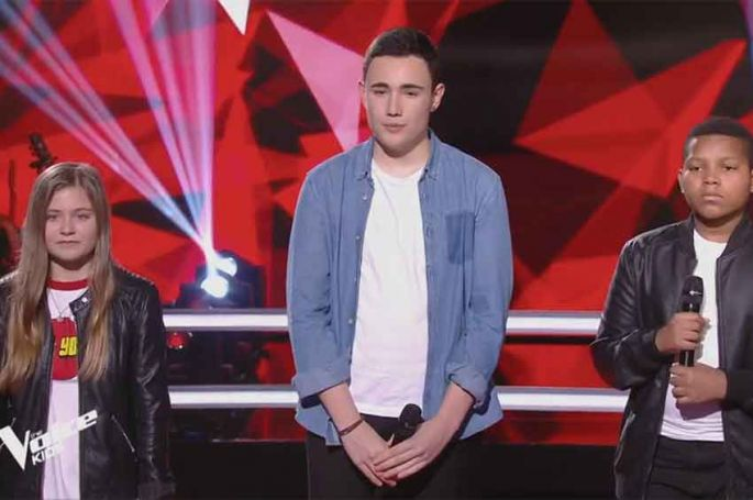 """Replay """"The Voice Kids"""" : Justine, Théo & Roger « Show must go on » de Queen (vidéo)"""